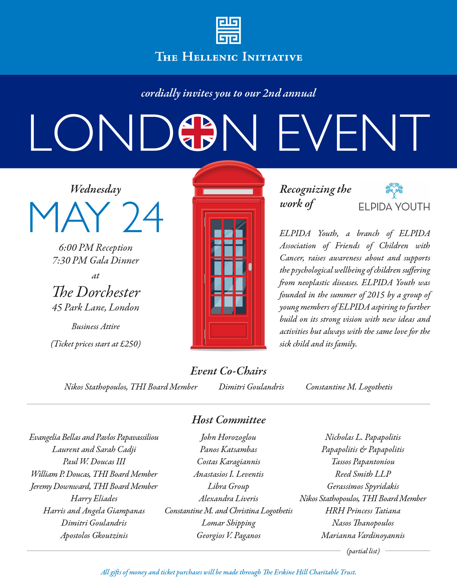 THI 2nd Annual London Event. Recognizing the work of ELPIDA Youth.