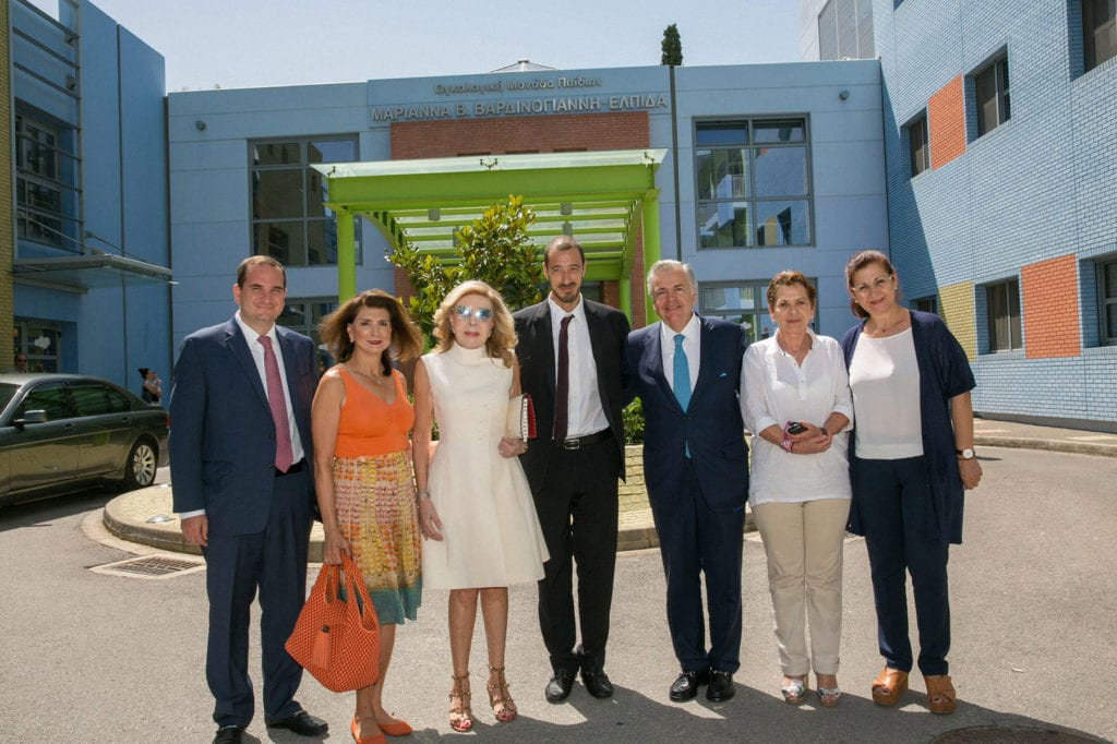 ELPIDA Association of Friends of Children with Cancer and Mrs. Marianna V. Vardinoyannis welcomed THI's President and his wife George P. & Georgia Stamas as well as THI's Director of Programming Mr. Michael Printzos at their Oncology Unit in Athens.